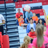 Grants Pirate Alissa Puderbaugh (8) lines up a spike to the  Belen Eagles at Grants High School Tuesday.