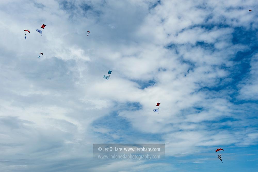 Parachuting at Lanud Sulaiman, Bandung, Indonesia.