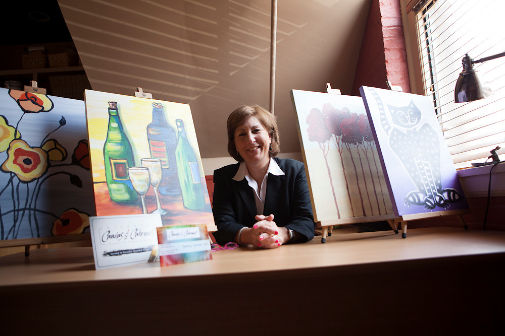 11 July 2012- Kathy Byrnes with Canvas & Cabernet is photographed at The Hot Shops for Omaha Magazine.