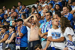 """August 3, 2017 - Poznan, Poland - Fans of Lecha during the UEFA Europa League Third Qualifying Round Second Leg match between Lech PoznaÅ"""" and FC Utrecht at Stadio Miejski, on August 3, 2017 in PoznaÅ"""", Poland. (Credit Image: © Foto Olimpik/NurPhoto via ZUMA Press)"""