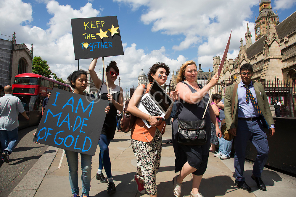 Protesters march towards College Green in Westminster outside the Houses of Parliamant following a Leave vote, also known as Brexit as the EU Referendum in the UK votes to leave the European Union on June 24th 2016 in London, United Kingdom. Membership of the European Union has been a topic of debate in the UK since the country joined the EEC, or Common Market in 1973. It will be the second time the British electorate has been asked to vote on the issue of Britains membership: the first referendum being held in 1975, when continued membership was approved by 67% of voters. The two sides are the  Leave Campaign, commonly referred to as a Brexit, and those of the Remain Campaign who are also known as the In Campaign.