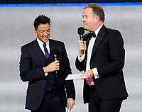 Peter Andre, Piers Morgan on stage at  Miss World ,Excel London. 14.12.19