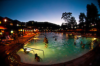 Mineral pools at twilight, Glenwood Hot Springs, Glenwood Springs, Colorado USA