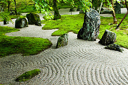 Detail of dry zen garden at Dazaifu temple in Fukuoka Japan