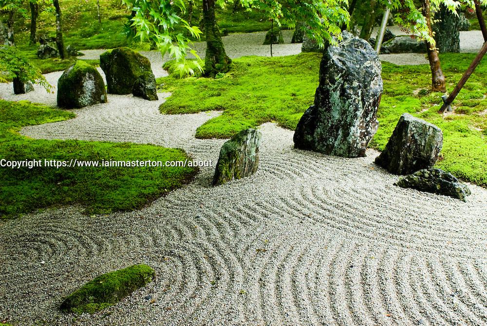Detail of dry zen garden at Dazaifu temple in Fukuoka Japan