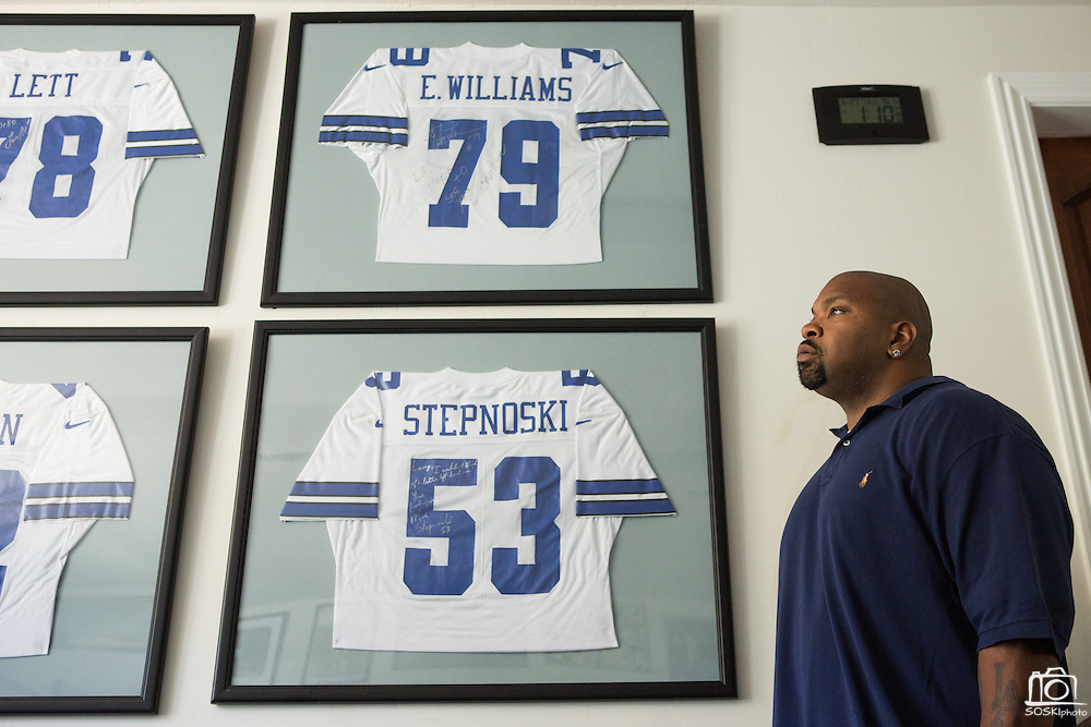 Former Dallas Cowboys guard Larry Allen, Jr. poses for a portrait with his past teammates' jerseys at his home in Danville, California, on June 27, 2013.  Allen will be inducted into the NFL Hall of Fame during the Enshrinement Ceremony at Fawcett Stadium in Canton, Ohio, on August 2, 2013. (Stan Olszewski for Fort Worth Star-Telegram)