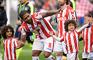Glen Johnson of Stoke city © ahead of the game. Premier league match, Stoke City v Arsenal at the Bet365 Stadium in Stoke on Trent, Staffs on Saturday 13th May 2017.<br /> pic by Bradley Collyer, Andrew Orchard sports photography.