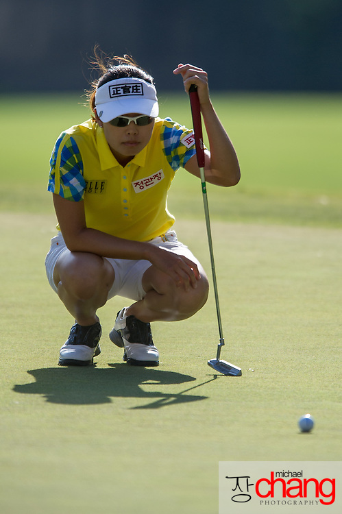 April 27 2012: South Korea's Sun Young Yoo prepares to putt on the 18th hole during the Mobile Bay LPGA Classic at Magnolia Grove in Mobile, AL.