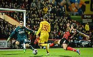 Artur Boruc saves from Raheem Sterling during the Capital One Cup match between Bournemouth and Liverpool at the Goldsands Stadium, Bournemouth, England on 17 December 2014.