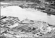 "Willamette Iron & Steel Co. WISCO aerials. August 7, 1947."" (Shows area above Swan Island)"