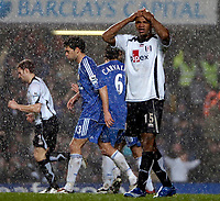 Photo: Ed Godden.<br />Chelsea v Fulham. The Barclays Premiership. 30/12/2006.<br />Fulham's Collins John can't believe he missed such a good goal scoring chance.