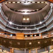 A fisheye view from the stage and underneath the stage at the Muriel Kauffman Theatre in the Kauffman Center as construction progressed in January 2011.