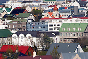 Aerial of the homes and architecture of Reykjavik, Iceland.  Most homes in Reykjavik are heated by geothermal energy.