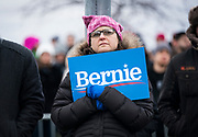 A supporter looks on during a rally for Democratic 2020 presidential candidate Bernie Sanders at James Madison Park in Madison, WI on Friday, April 12, 2019.