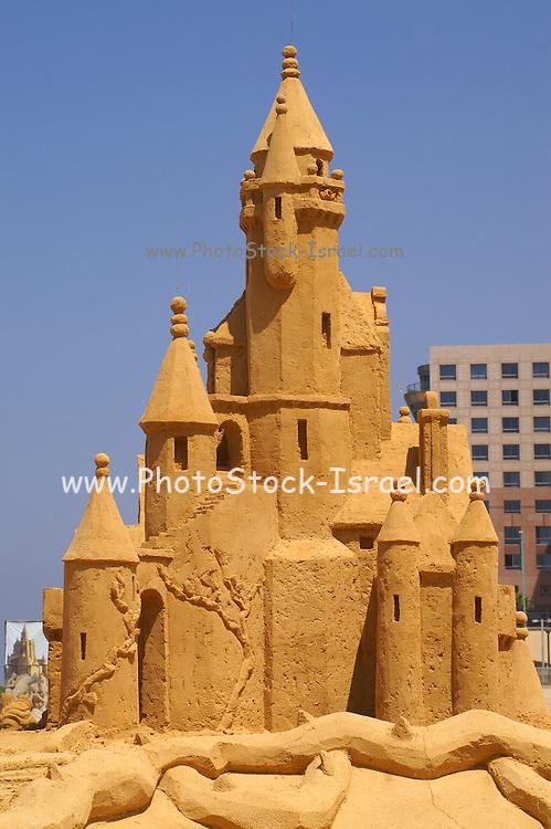 Israel, Haifa, Sand Castle sculpture festival on the Haifa beach, August 2006