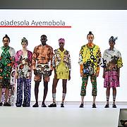 Designer Mojadesola Ayemobola showcases it lastest collection at the Graduate Fashion Week 2018, 4 June 4 2018 at Truman Brewery, London, UK.