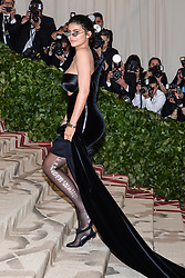 Kylie Jenner walking the red carpet at The Metropolitan Museum of Art Costume Institute Benefit celebrating the opening of Heavenly Bodies : Fashion and the Catholic Imagination held at The Metropolitan Museum of Art  in New York, NY, on May 7, 2018. (Photo by Anthony Behar/Sipa USA)