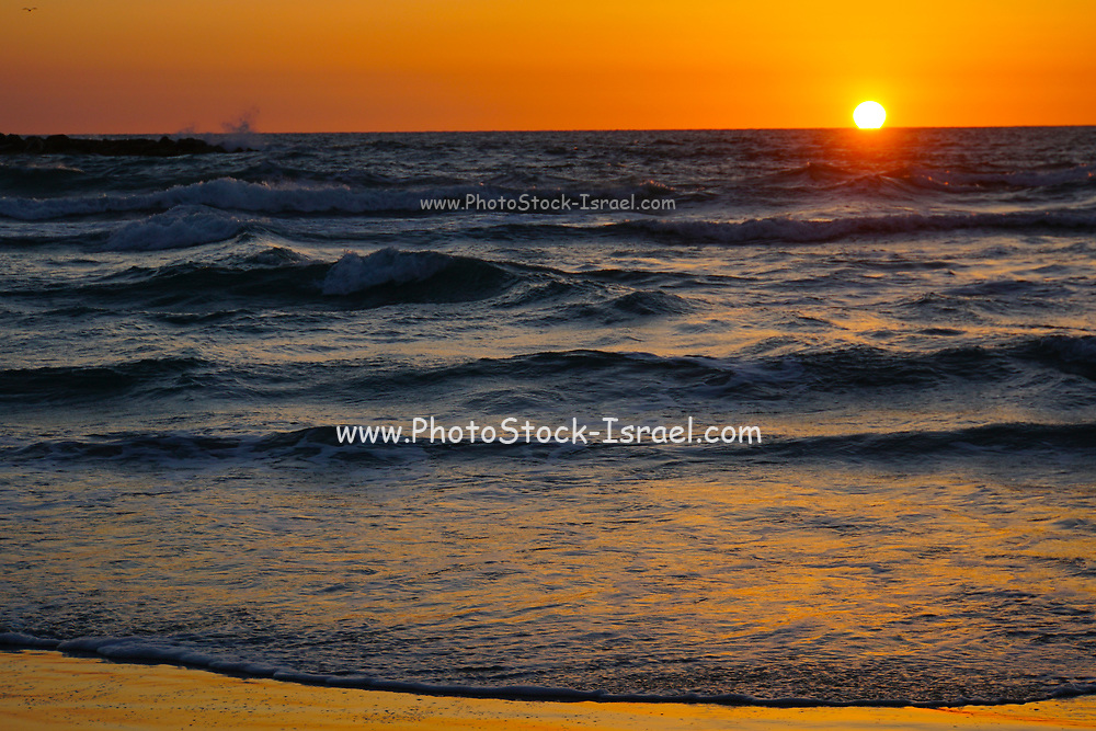 Sunset over the Mediterranean sea. Photographed in Tel Aviv, Israel