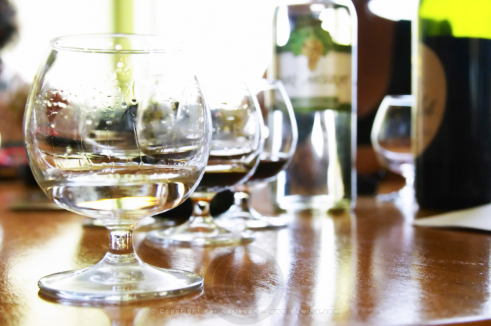 A snifter glass of Muscat raki grappa style grape brandy with other glasses in the background. Bottle of Muscat Raki in the background. Kantina e Pijeve Gjergj Kastrioti Skenderbeu Skanderbeg winery, Durres. Albania, Balkan, Europe.