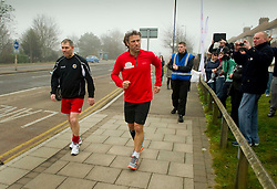 © Licensed to London News Pictures. 02/03/2012 Dartford, UK. Comedian John Bishop starts the final day of his Sport Relief Triathalon in Dartford, Kent. .Photo credit : Simon Jacobs/LNP