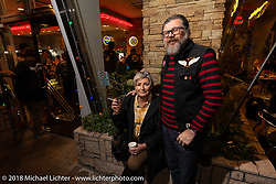Giuseppi Roncen and Marie-Line Thioulouze at the Area-1 afterparty for overseas guests after their Yokohama show. Monday, December 3, 2018. Photography ©2018 Michael Lichter.