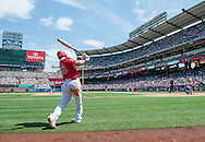 Kole Calhoun prepares to bat during the Angels' preseason game against the Chicago Cubs at Angel Stadium Sunday.<br /> <br /> <br /> ///ADDITIONAL INFO:   <br /> <br /> angels.0404.kjs  ---  Photo by KEVIN SULLIVAN / Orange County Register  --  4/3/16<br /> <br /> The Los Angeles Angels take on the Chicago Cubs at Angel Stadium during a preseason game at Angel Stadium Sunday.<br /> <br /> <br />  4/3/16