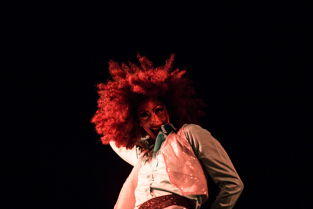 An Israeli drag queen performs on stage, prior to a 'Drag Race' organized by The Jerusalem LGBT (lesbian, gay bisexual and transgender) community, in which competitors raced down a 50 meter stretch, wearing high heels, in central Jerusalem, Israel, on February 16, 2015. The event is part of the city's annual 'Winter Noise Festival' also dubbed 'Sound of Winter Festival' which features street performances, open bars and street art exhibitions.