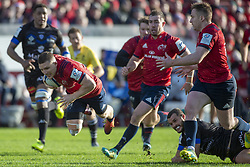 December 9, 2018 - Limerick, Ireland - Andrew Conway of Munster is flying with the ball during the Heineken Champions Cup Round 3 match between Munster Rugby and Castres Qlympique at Thomond Park Stadium in Limerick, Ireland on December 9, 2018  (Credit Image: © Andrew Surma/NurPhoto via ZUMA Press)