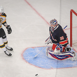 Boston Bruins right wing Jordan Caron (38) celebrates a goal scored on New York Rangers goalie Henrik Lundqvist (30) during first period NHL action between the New York Rangers and the Boston Bruins at Madison Square Garden in New York, N.Y.