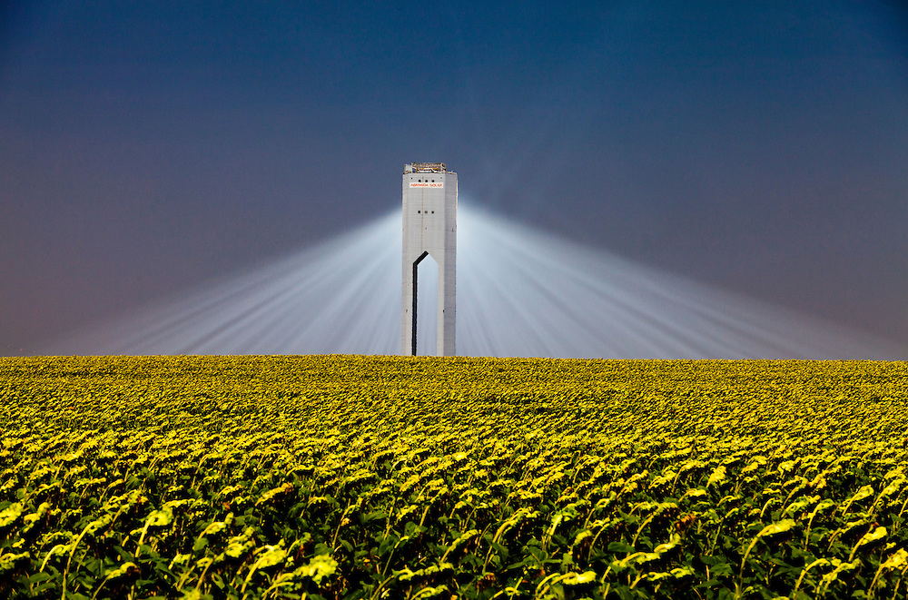 Solar Thermal Towers in Spain generating electricity using the concentrated power of the sun's rays reflected to a furnace at the top of the tower using heliostat mirrors