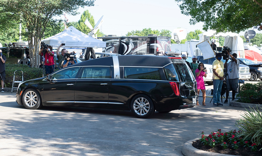 Houston, TX USA June 8, 2020: The casket of GEORGE FLOYD arrives at Fountain of Praise Church in Houston for the first of two memorial services before his burial on Tuesday.  Floyd's death in Minneapolis two weeks ago has spawned hundreds of anti-racism protests worldwide. (Polaris)