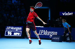 November 15, 2017 - London, United Kingdom - Dominic Thiem of Austria against Pablo Carreno Busta of Spain.during Day Four of the NITTO ATP World Tour  Finals played at The O2 Arena, London on November 15 2017  (Credit Image: © Kieran Galvin/NurPhoto via ZUMA Press)