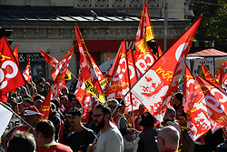 October 13, 2017 - Paris, Ile-de-France, France - Metalworkers demonstrate as they march with banners and flags in the streets of Paris on October 13, 2017. Several thousand workers have taken part in a protest organized by French union CGT for the metallurgy industry in Paris on October 13 to demand a national collective high level agreement for the branch in France. (Credit Image: © Julien Mattia/NurPhoto via ZUMA Press)