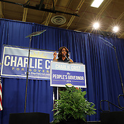 """First Lady Michelle Obama appeared at the grassroots """"Commit to Vote"""" rally for Democrat Charlie Crist who is running for Governor of the state of Florida. The campaign called on the event to """" energize voters and lay out the stakes for Floridians in the critical election on November 4th."""" at the Barnett Park Gymnasium in Orlando, Florida on Friday, Nov. 17, 2014. (AP Photo/Alex Menendez)"""
