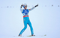 Hopp , BAD MITTERNDORF,AUSTRIA,17.JAN.16 - NORDIC SKIING, SKI JUMPING, SKI FLYING - FIS World Championships, Kulm, team, Image shows the rejoicing of Kenneth Gangnes (NOR).<br /> Norway only