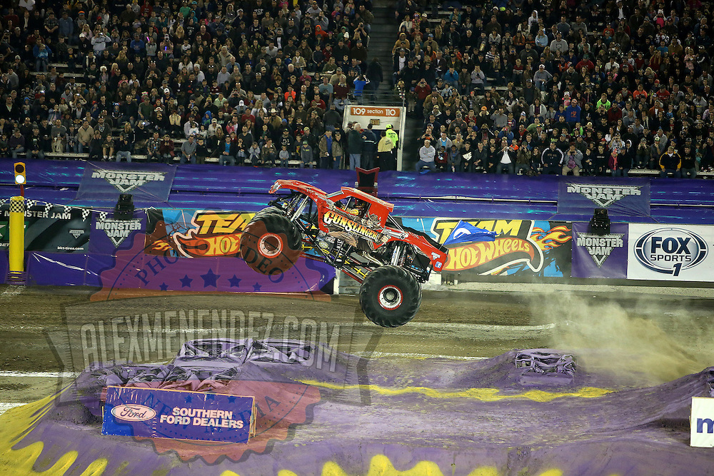 Gunslinger driven by Scott Hartsock, is seen during the Monster Jam big truck event at the Citrus Bowl in Orlando, Florida on Saturday, January 25, 2014. (AP Photo/Alex Menendez)