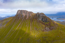 View of Stac Pollaidh mountain in Inverpolly region of Sutherland , north west Scotland UK