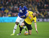 Watford's Sebastian Prodl tussles with Everton's Romelu Lukaku during the Premier League match at Vicarage Road Stadium, London. Picture date December 10th, 2016 Pic David Klein/Sportimage