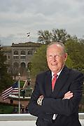 Editorial photography of Bob McCaslin, Mayor of Bentonville, Arkansas, overlooking the downtown Bentonville square.