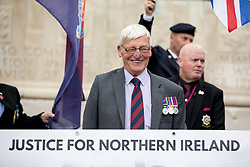 © Licensed to London News Pictures. 16/09/2017. London, UK. Dennis Hutchings (75) who has been charged with attempted murder over a fatal shooting in 1974 leads the demonstration by Justice for Northern Ireland Veterans on Horseguards Parade. Photo credit : Tom Nicholson/LNP