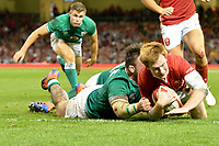 Rugby - 2019 pre-Rugby World Cup warm-up (Under Armour Summer Series) - Wales vs. Ireland<br /> <br /> Rhys Patchell, of Wales scores a try  , at Principality (Millennium) Stadium.<br /> <br /> COLORSPORT/WINSTON BYNORTH