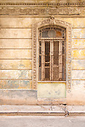 Close up of building part with old window, Havana, Cuba