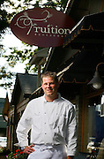 SHOT 8/8/2007 - Fruition restaurant Executive Chef/Owner Alex Seidel in the dining room and out front of the restaurant on East Sixth Avenue in Denver, Co. Seidel was selected as one of Denver's up and coming chefs for Shine magazine. Also includes photos of some of Seidel's creations:.English Pea shoot salad starter with lemon cured salmon, fresh heart of palm, English Peas and a pistachio vinaigrette - $10.00.Pan Roasted Alaskan Black Cod main course with orecchiette pasta, fresh summer vegetables, foraged mushrooms and black truffle oil..(Photo by Marc Piscotty /  © 2007)