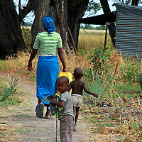 Africa, Botswana, Okavango Delta. Village life in the delta.