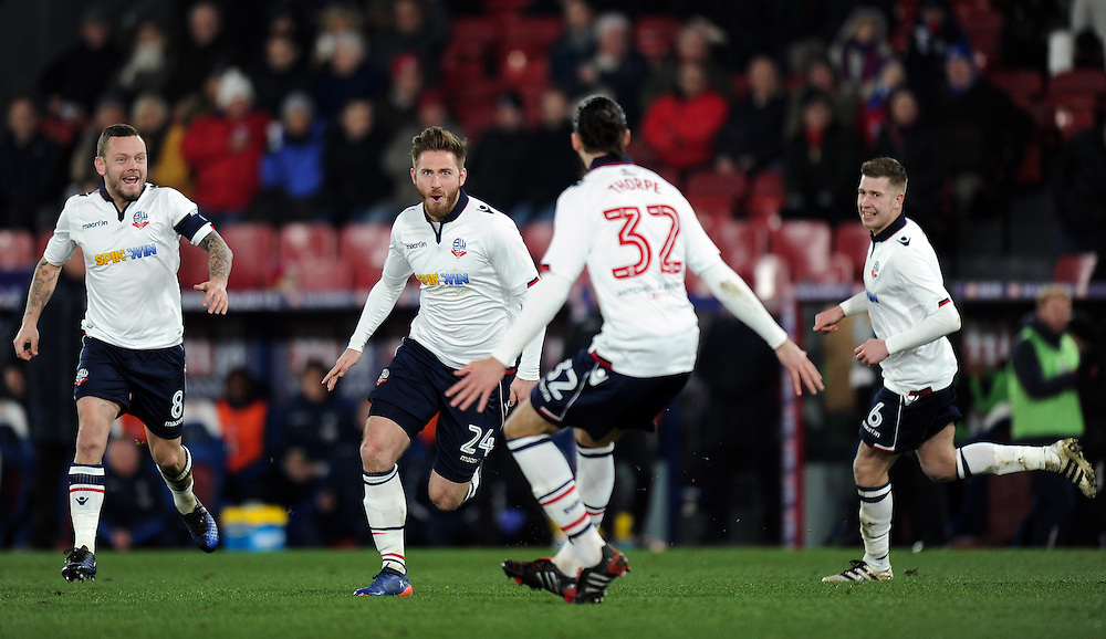 Bolton Wanderers' James Henry celebrates scoring the opening goal <br /> <br /> Photographer Ashley Western/CameraSport<br /> <br /> Emirates FA Cup Third Round Replay - Crystal Palace v Bolton Wanderers - Tuesday 17th January 2017 - Selhurst Park - London<br />  <br /> World Copyright © 2017 CameraSport. All rights reserved. 43 Linden Ave. Countesthorpe. Leicester. England. LE8 5PG - Tel: +44 (0) 116 277 4147 - admin@camerasport.com - www.camerasport.com