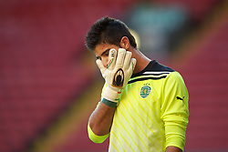 LIVERPOOL, ENGLAND - Wednesday, August 17, 2011: Sporting Clube de Portugal's goalkeeper Rafael Veloso in action against Liverpool during the first NextGen Series Group 2 match at Anfield. (Pic by David Rawcliffe/Propaganda)