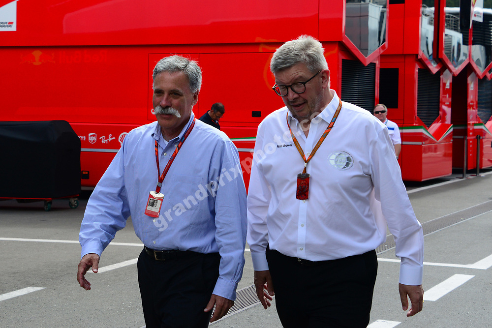 Chase Carey (Liberty Media) and Ross Brawn (F1 Managing Director of Motorsports) before the 2017 Austrian Grand Prix at the Red Bull Ring in Spielberg. Photo: Grand Prix Photo