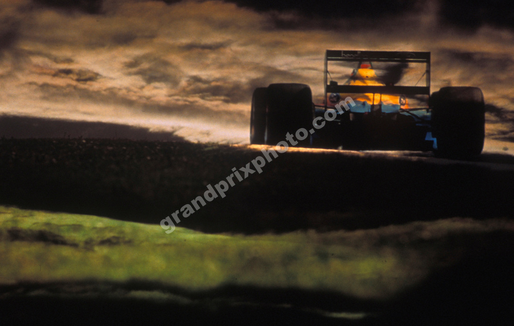 Johnny Herbert (Benetton-Ford) seen in an artistic double-exposure during the 1989 season. Photo: Grand Prix Photo