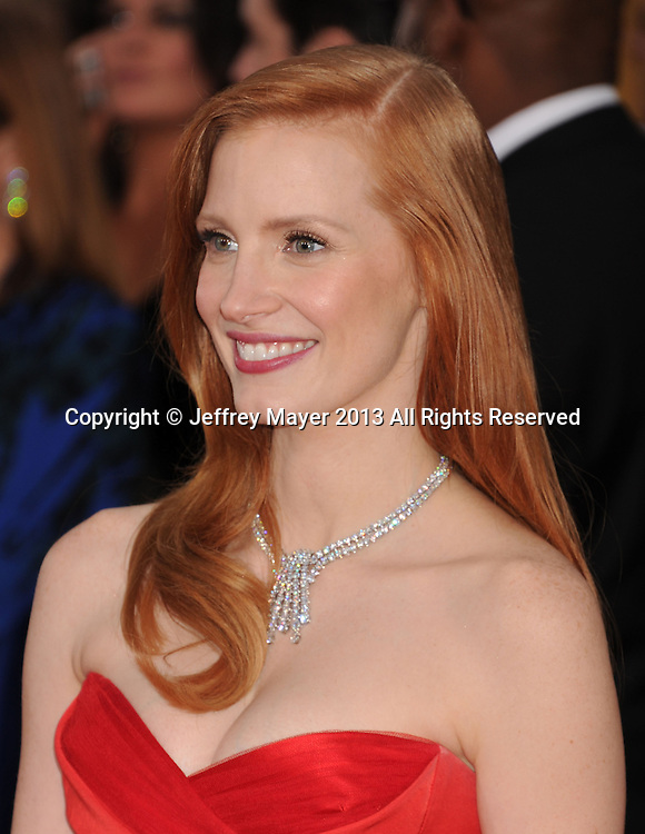 LOS ANGELES, CA - JANUARY 27: Jessica Chastain arrives at the 19th Annual Screen Actors Guild Awards at the Shrine Auditorium on January 27, 2013 in Los Angeles, California.