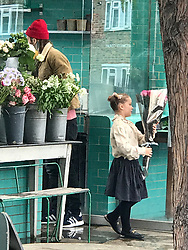 EXCLUSIVE David Beckham is seen out buying flowers in London with his young daughter Harper. Meanwhile wife Victoria Beckham sat in the star's brand new Bentley 4x4.<br /> <br /> 17 September 2017.<br /> <br /> Please byline: Vantagenews.com<br /> <br /> UK clients should be aware children's faces may need pixelating.